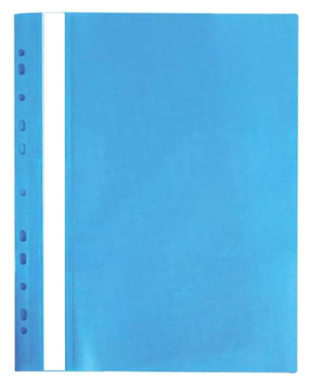 Папка-скоросшиватель Silwerhof Classic 255117-08 A4 прозрач.верх.лист боков.перф. голубой 0.12/0.18м