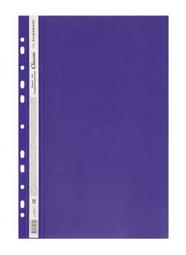 Папка-скоросшиватель Silwerhof Classic 255117-07 A4 прозрач.верх.лист боков.перф. фиолетовый 0.12/0.