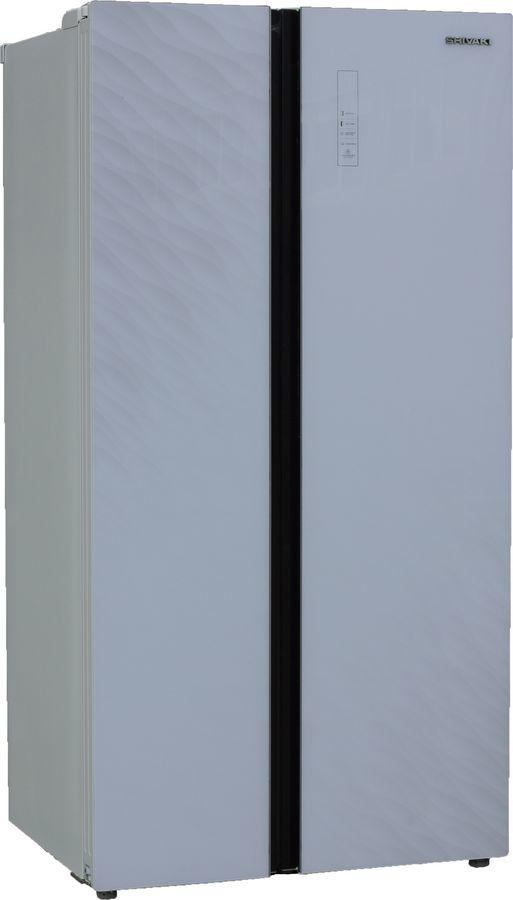 Холодильник SHIVAKI SBS-550DNFWGL,  двухкамерный, белый/стекло