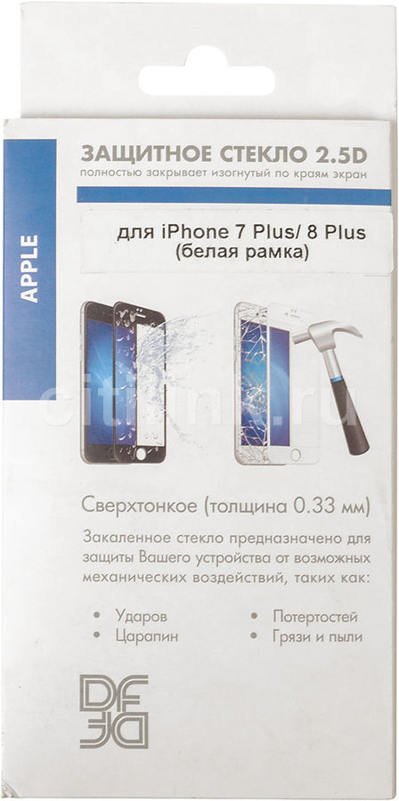 Защитное стекло для экрана DF iColor-16  для Apple iPhone 7 Plus/8 Plus,  1 шт, белый [icolor-16 (white)]
