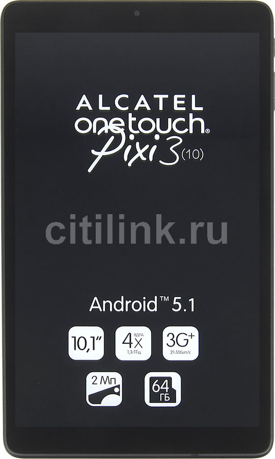 Планшет ALCATEL Pixi 3 9010X, 1GB, 8GB, 3G, Android 5.1 черный [9010x-2aalru1]