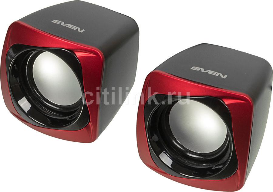 Колонки SVEN 140,  черный,  красный