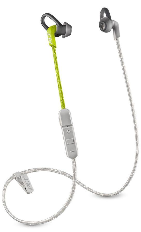 Наушники с микрофоном PLANTRONICS BackBeat Fit 305, Bluetooth, вкладыши, серый/лайм [209061-99]