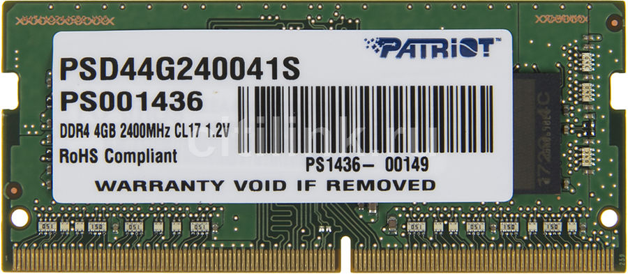 Модуль памяти PATRIOT PSD44G240041S DDR4 - 4Гб 2400, SO-DIMM, Ret модуль памяти patriot memory ddr4 so dimm 2400mhz pc4 19200 cl17 4gb psd44g240041s