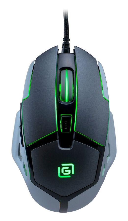 Мышь OKLICK 915G HELLWISH V2, игровая, оптическая, проводная, USB, черный и серебристый