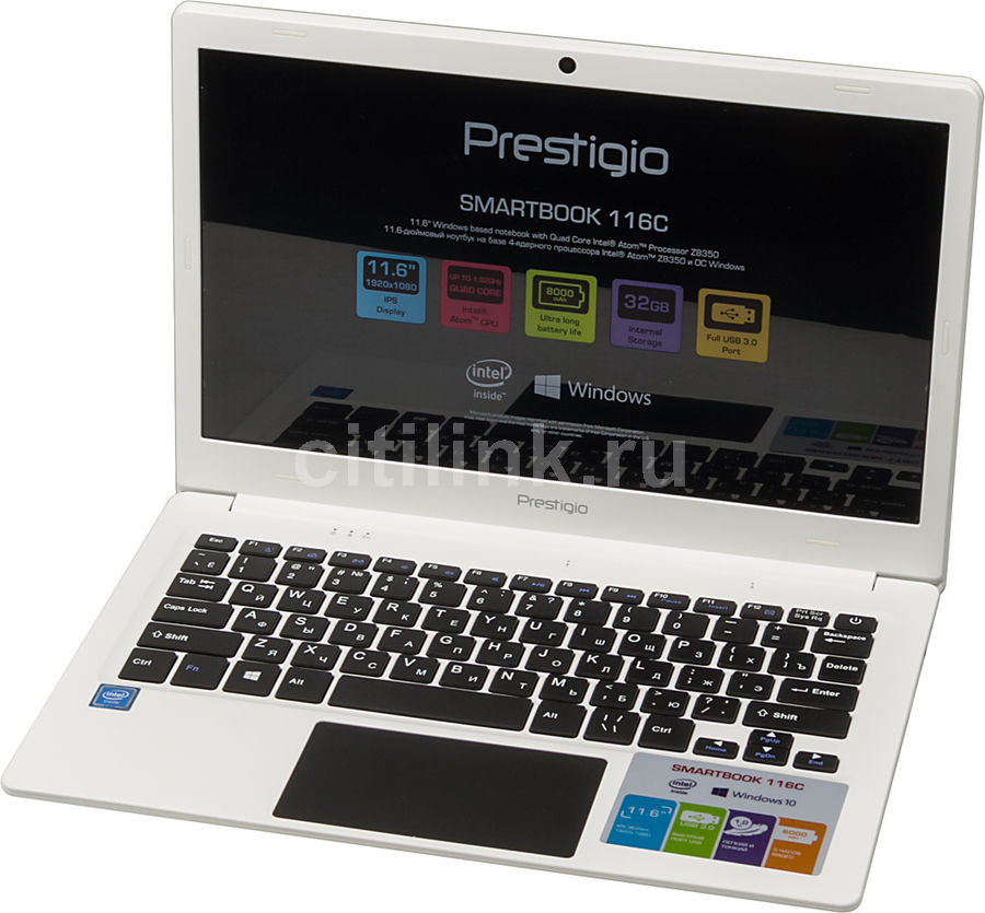 Ноутбук PRESTIGIO SmartBook 116C, 11.6, Intel Atom X5 Z8350 1.44ГГц, 2Гб, 32Гб SSD, Intel HD Graphics 400, Windows 10 Home, PSB116C01BFH_WH_CIS, белый ноутбук трансформер hp x2 detachable 10 p002ur 10 1 intel atom x5 z8350 1 44ггц 2гб 32гб ssd intel hd graphics 400 windows 10 белый [y5v04ea]