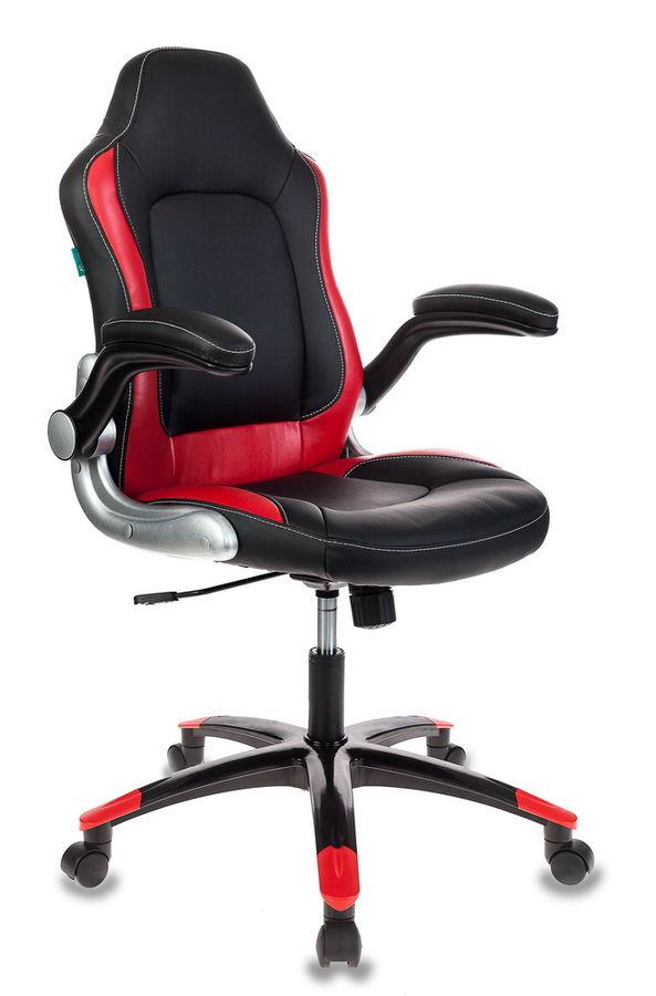 Кресло игровое БЮРОКРАТ Viking-1, на колесиках, искусственная кожа, черный [viking-1/bl+red]