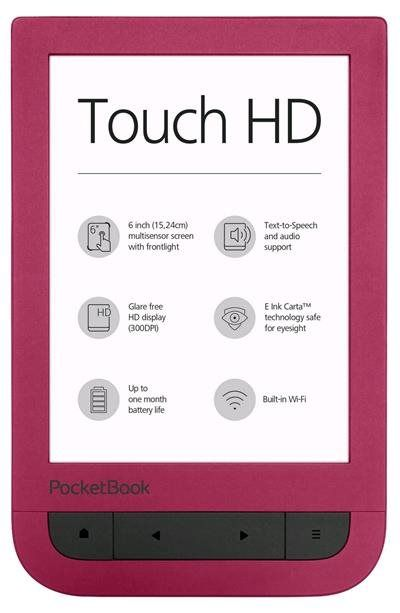 "Электронная книга POCKETBOOK 631 Touch HD, 6"", красный"