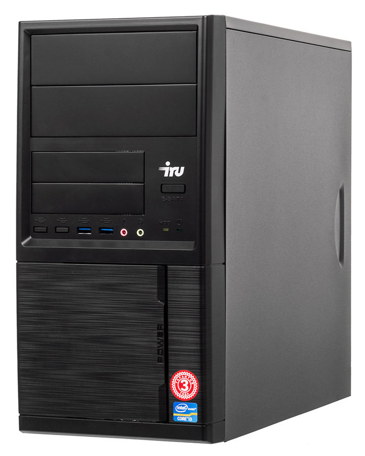 Компьютер IRU Office 313, Intel Core i3 7100, DDR4 4Гб, 500Гб, Intel HD Graphics 630, Windows 10 Home, черный [1005814] ноутбук acer aspire a315 31 c3cw 15 6 intel celeron n3350 1 1ггц 4гб 500гб intel hd graphics 500 windows 10 черный [nx gnter 005]