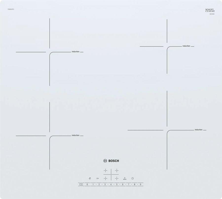 Индукционная варочная панель BOSCH PUE612FF1J,  индукционная,  независимая,  белый