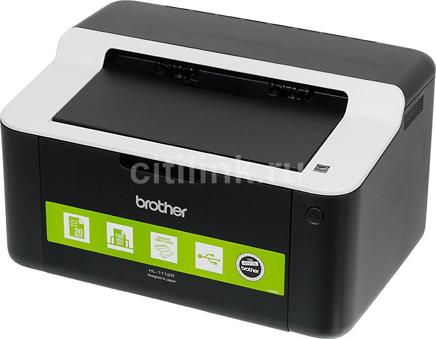 Принтер лазерный BROTHER HL-1112R + картридж,  лазерный, цвет:  черный [hl1112r2]