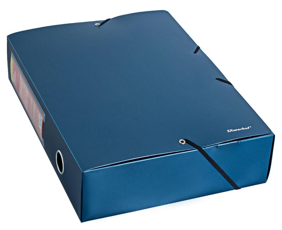 Папка архивная на резинке Silwerhof Perlen 311976-74 полипропилен 0.8мм корешок 75мм A4 синий металл