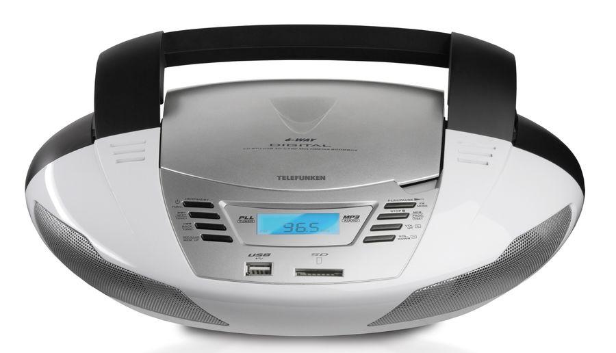 Аудиомагнитола TELEFUNKEN TF-CSRP3480,  белый и черный