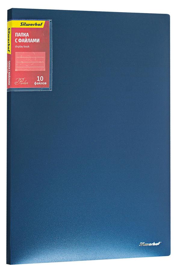 Папка с 10 прозр.вклад. Silwerhof Perlen 292910-74 A4 0.6мм карман синий металлик