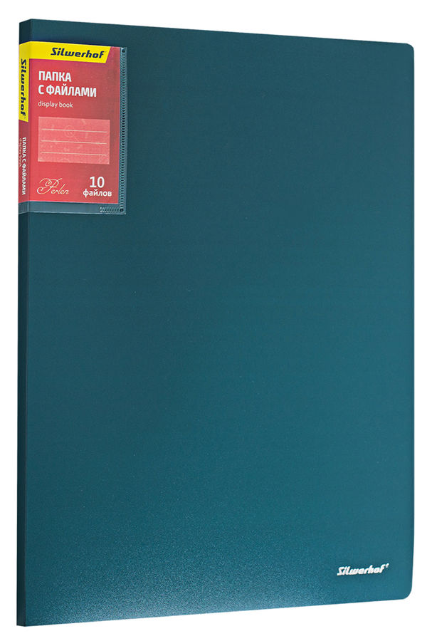 Папка с 10 прозр.вклад. Silwerhof Perlen 292910-75 A4 0.6мм карман зеленый металлик