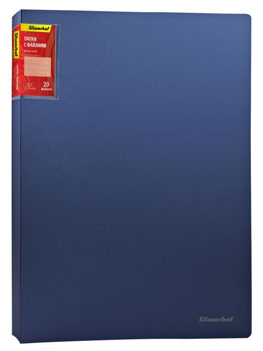 Папка с 20 прозр.вклад. Silwerhof Perlen 292920-74 A4 0.7мм карман синий металлик