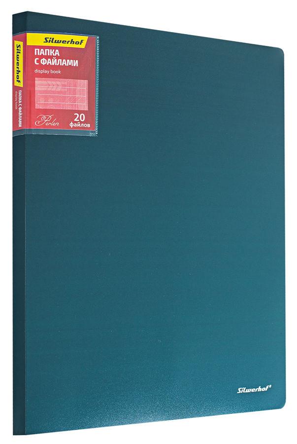 Папка с 20 прозр.вклад. Silwerhof Perlen 292920-75 A4 0.7мм карман зеленый металлик