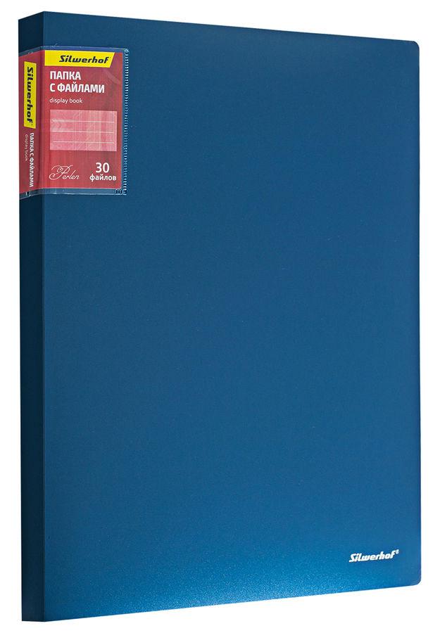 Папка с 30 прозр.вклад. Silwerhof Perlen 292930-74 A4 0.75мм карман синий металлик