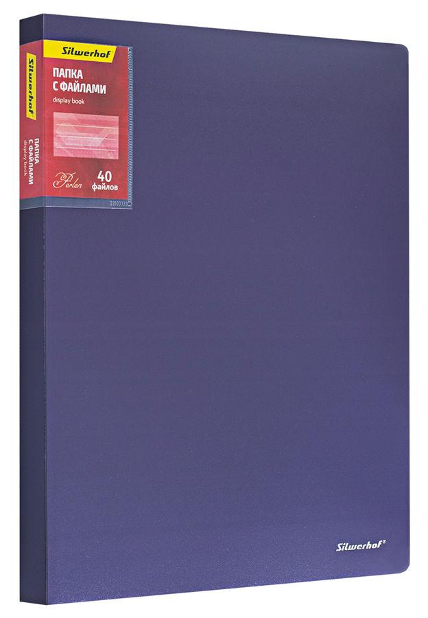 Папка с 40 прозр.вклад. Silwerhof Perlen 292940-73 A4 0.8мм карман сиреневый металлик