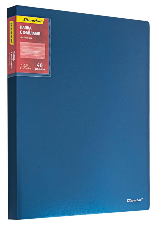 Папка с 40 прозр.вклад. Silwerhof Perlen 292940-74 A4 0.8мм карман синий металлик