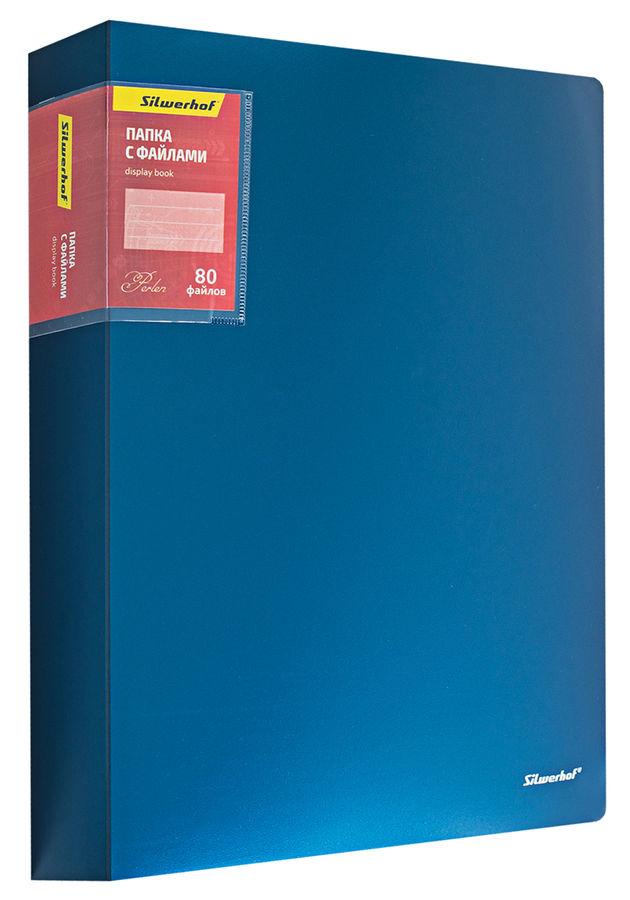 Папка с 80 прозр.вклад. Silwerhof Perlen 292980-74 A4 1.1мм карман синий металлик