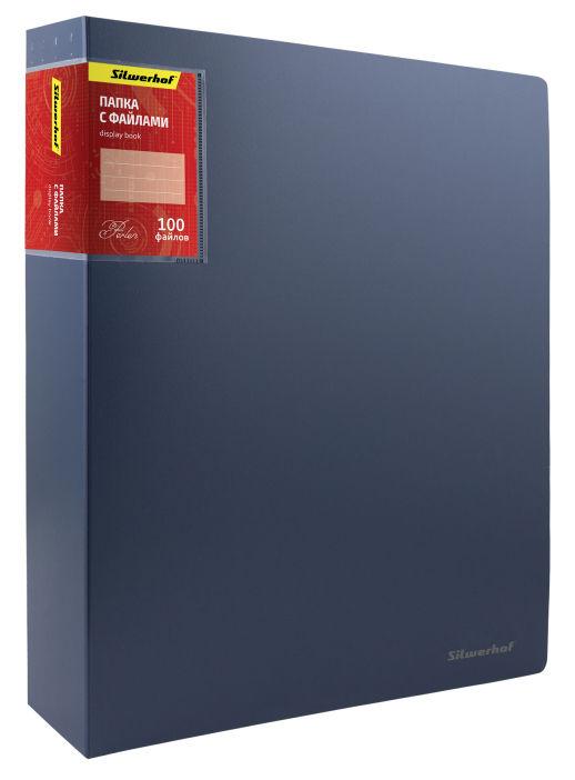 Папка с 100 прозр.вклад. Silwerhof Perlen 292900-74 A4 полипропилен 1.2мм карман синий металлик