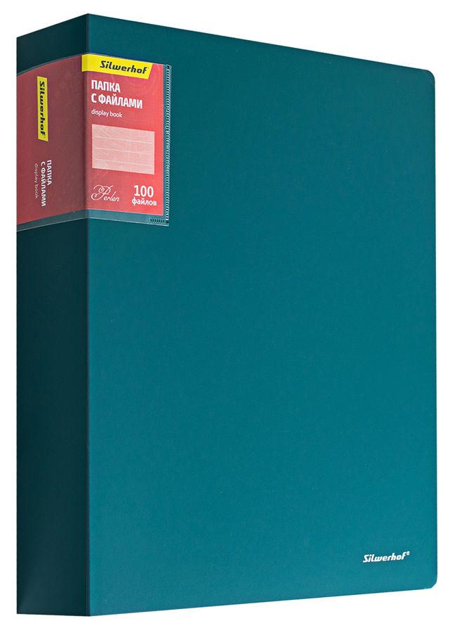 Папка с 100 прозр.вклад. Silwerhof Perlen 292900-75 A4 1.2мм карман зеленый металлик