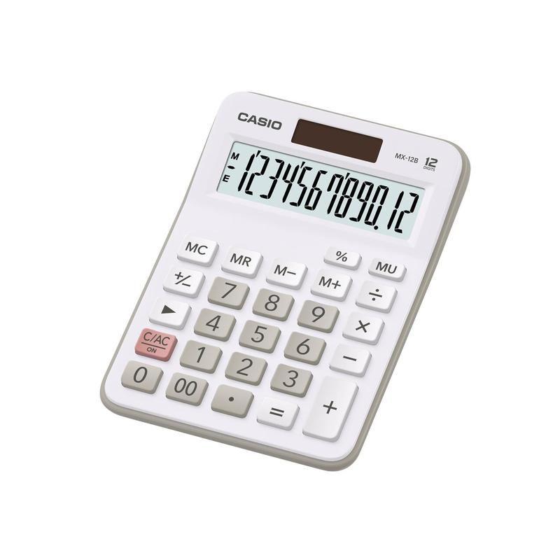 Калькулятор CASIO MX-12B-WE,  12-разрядный, белый