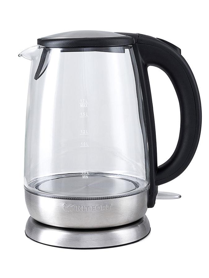 Чайник электрический KITFORT КТ-619, 2200Вт, серебристый и черный