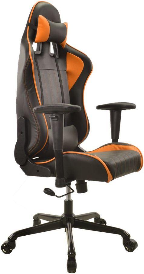 Кресло игровое БЮРОКРАТ CH-774, на колесиках, искусственная кожа [ch-774/bl+or]