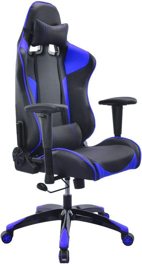 Кресло игровое БЮРОКРАТ CH-775, на колесиках, искусственная кожа [ch-775/bl+blue]