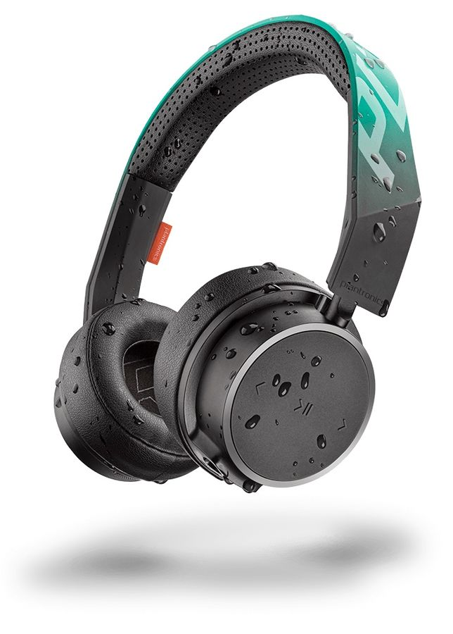 Наушники с микрофоном PLANTRONICS BackBeat Fit 500, Bluetooth, накладные, черный/зеленый [210701-99]