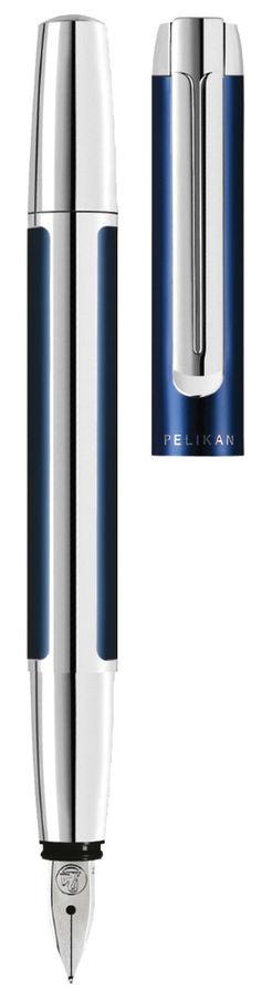 Ручка перьевая Pelikan Elegance Pura P40 (PL954958) синий/серебристый F сталь нержавеющая подар.кор.