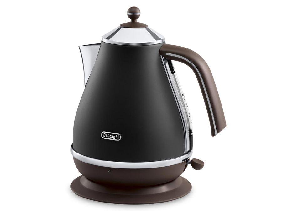 Чайник электрический DELONGHI KBOV 2001.BK, 2000Вт, черный и коричневый