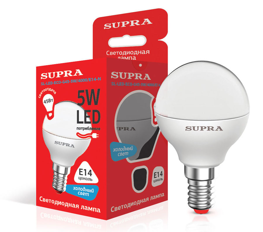 Лампа SUPRA SL-LED-ECO-G45, 5Вт, 400lm, 25000ч,  4000К, E14,  1 шт. [10227]