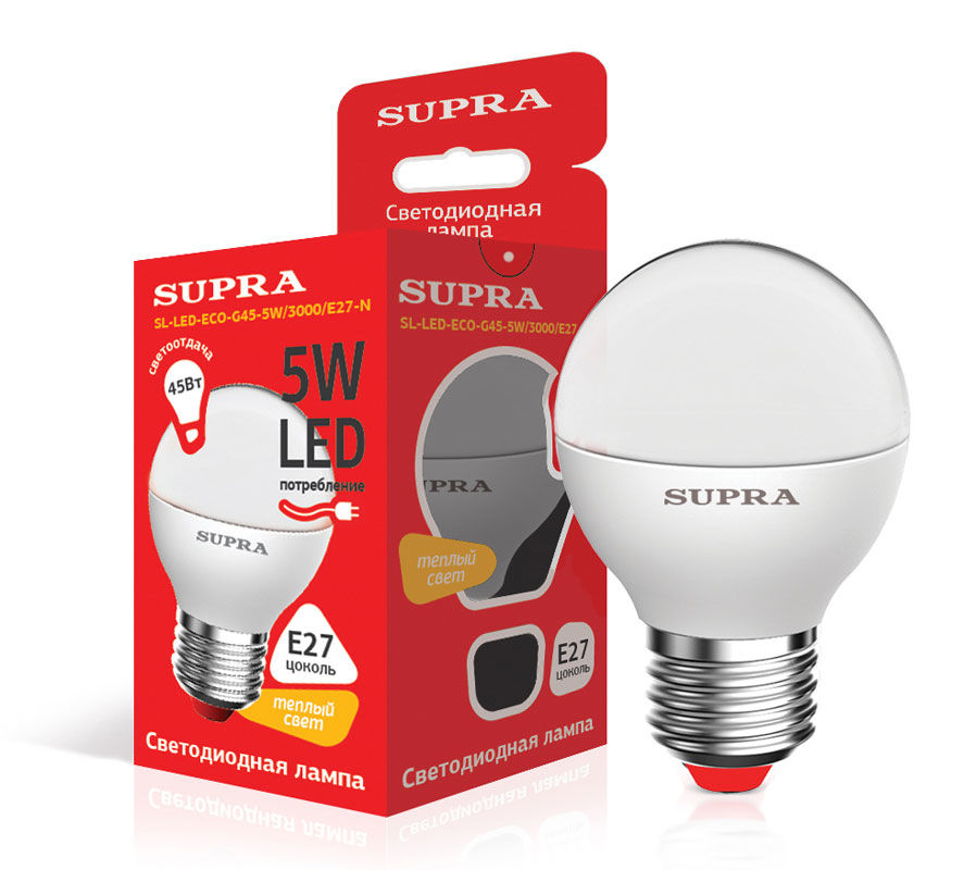 Лампа SUPRA SL-LED-ECO-G45, 5Вт, 400lm, 25000ч,  3000К, E27,  1 шт. [10226]