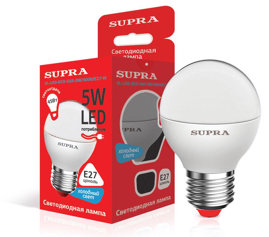 Лампа SUPRA SL-LED-ECO-G45, 5Вт, 400lm, 25000ч,  4000К, E27,  1 шт. [10228]