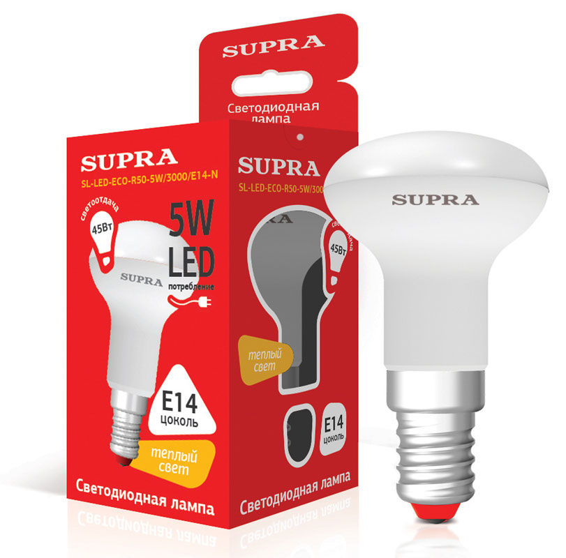 Лампа SUPRA SL-LED-ECO-R50-N, 5Вт, 400lm, 25000ч,  3000К, E14,  1 шт. [10231]
