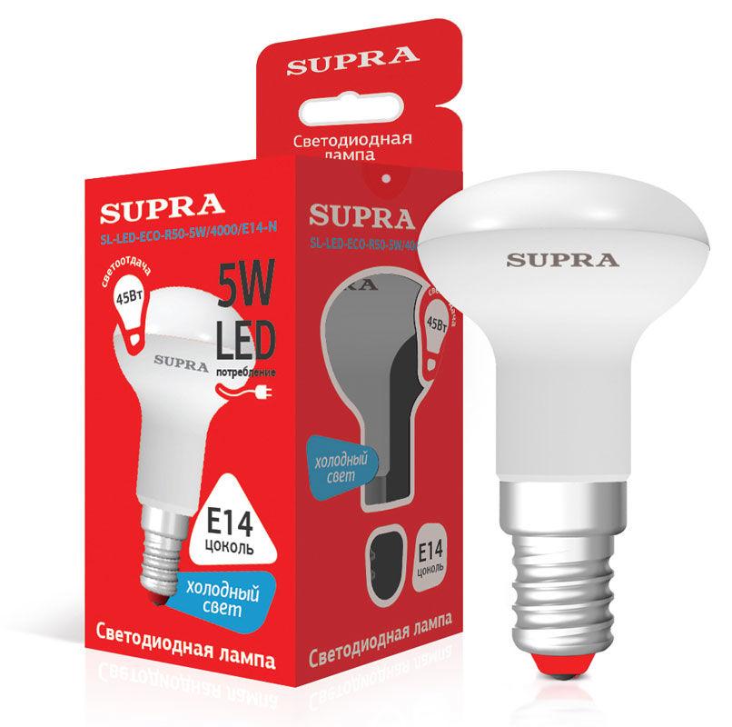 Лампа SUPRA SL-LED-ECO-R50, 5Вт, 400lm, 25000ч,  4000К, E14,  1 шт. [10232]