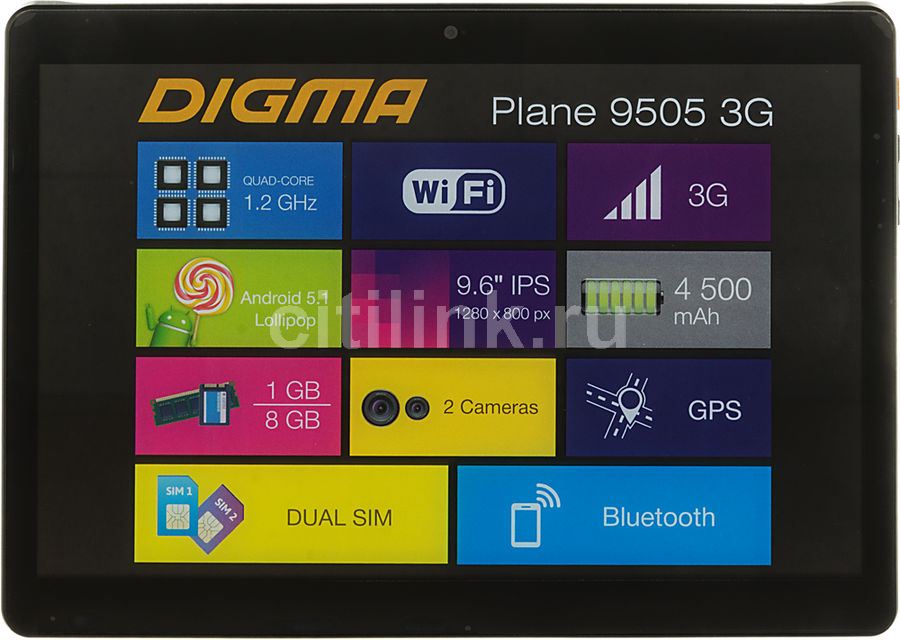 Планшет DIGMA Plane 9505 3G + Navitel, 1GB, 8GB, 3G, Android 5.1 графит [ps9034mg] планшет digma plane 9507m 3g black ps9079mg mt8321 1 2 ghz 1024mb 8gb 3g wi fi bluetooth cam 9 6 1280x800 android 390148