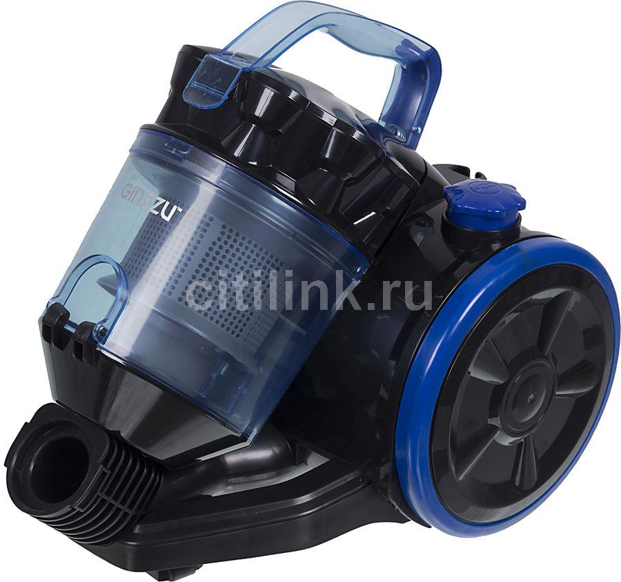 Пылесос GINZZU VS424, 1600Вт, черный/синий