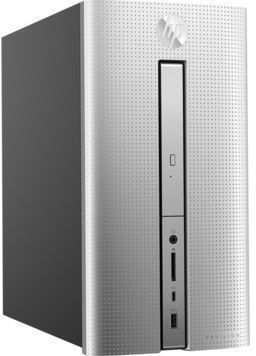 Компьютер HP Pavilion 570-p009ur, Intel Core i3 7100, DDR4 8Гб, 256Гб(SSD), Intel HD Graphics 630, DVD-RW, Free DOS 2.0, серебристый [2cw87ea] ноутбук hp 15 bs027ur 1zj93ea core i3 6006u 4gb 500gb 15 6 dvd dos black