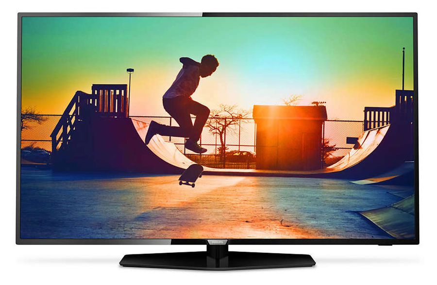 LED телевизор PHILIPS 55PUT6162/60 R, 55, Ultra HD 4K (2160p), черный led телевизор samsung ue55ku6510uxru r 55 ultra hd 4k 2160p белый