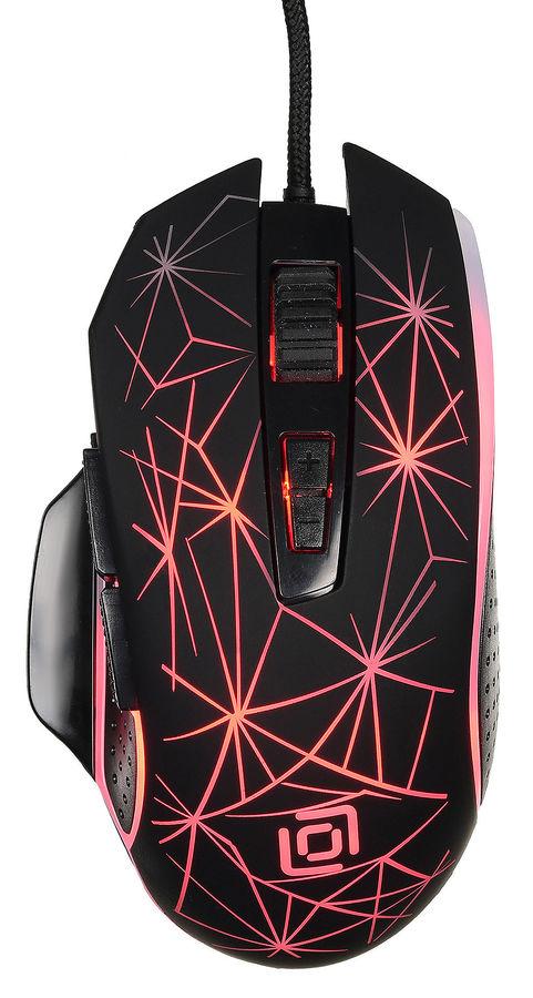 Мышь OKLICK 935G STARFALL, игровая, оптическая, проводная, USB, черный