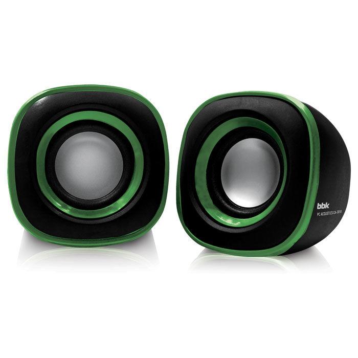 Колонки BBK CA-301S,  2.0,  черный/ зеленый