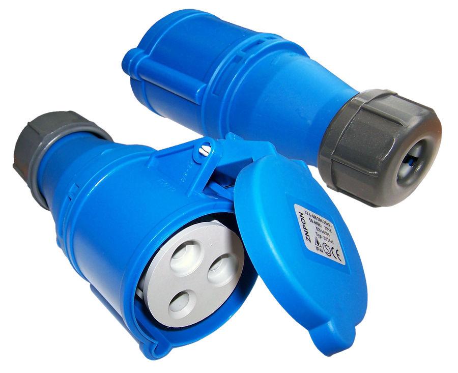 Вилка Lanmaster LAN-IEC-309-32A1P/F однофазная мама 32A 250V разборная синяя