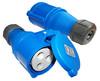 Вилка Lanmaster LAN-IEC-309-32A1P/F однофазная мама 32A 250V разборная синяя вид 1