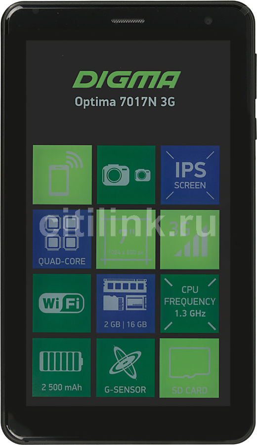 Планшет DIGMA Optima 7017N 3G, 2GB, 16GB, 3G, Android 7.0 черный [ts7177mg] планшет tesla neon color 7 0 3g 7 8gb синий wi fi 3g android neon 7 0 3g