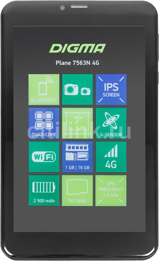 Планшет DIGMA Plane 7563N 4G,  1GB, 16GB, 3G,  4G,  Android 7.0 черный [ps7178ml]