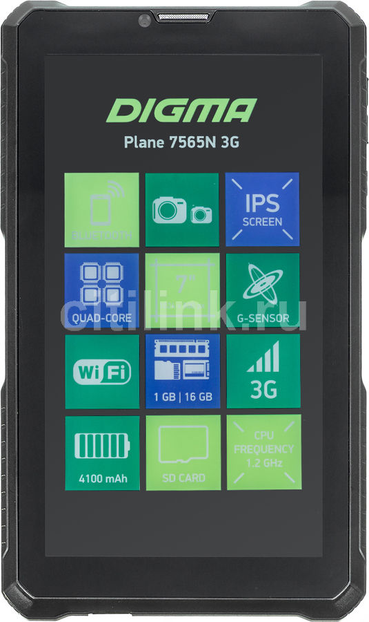 Планшет DIGMA Plane 7565N 3G,  1GB, 16GB, 3G,  Android 7.0 черный [ps7180pg]